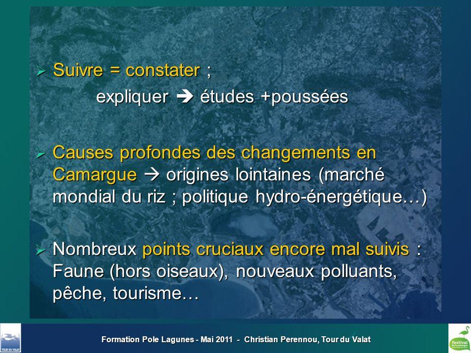 Formation Pole Lagunes - Mai 2011 - Christian Perennou, Tour du Valat Suivre = constater ; Suivre = constater ; expliquer études +poussées expliquer é