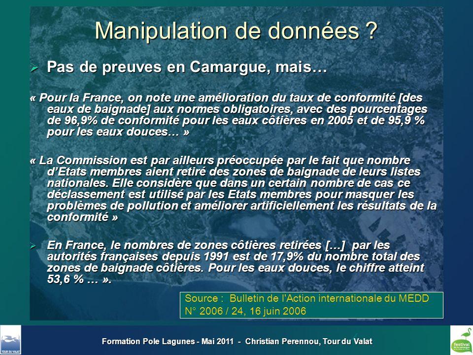 Manipulation de données ? Pas de preuves en Camargue, mais… Pas de preuves en Camargue, mais… « Pour la France, on note une amélioration du taux de co