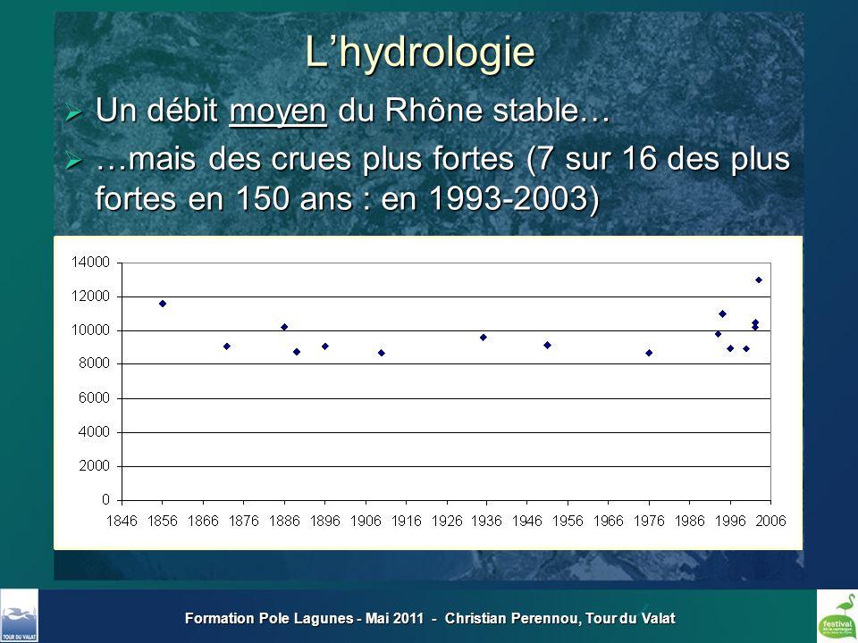 Formation Pole Lagunes - Mai 2011 - Christian Perennou, Tour du Valat Un débit moyen du Rhône stable… Un débit moyen du Rhône stable… …mais des crues