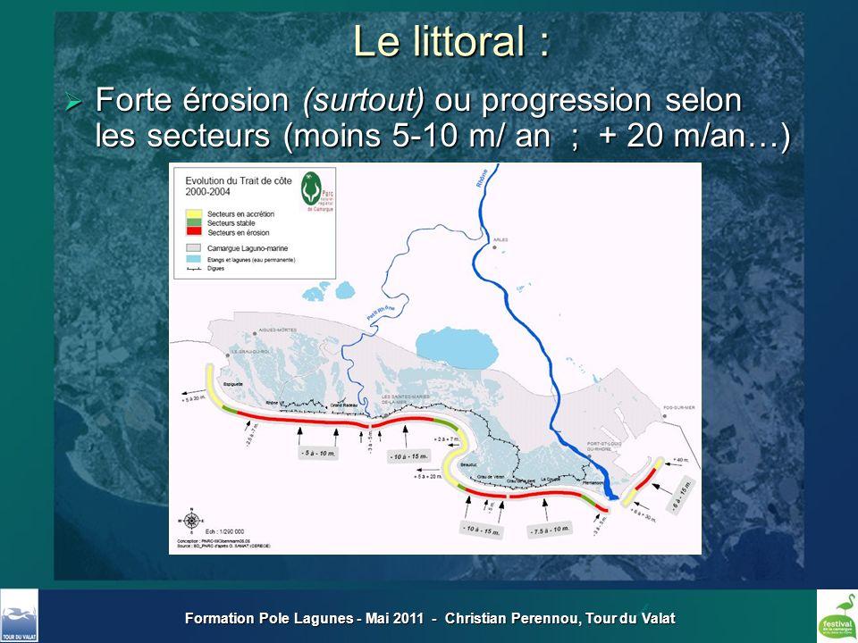 Formation Pole Lagunes - Mai 2011 - Christian Perennou, Tour du Valat Le littoral : Forte érosion (surtout) ou progression selon les secteurs (moins 5