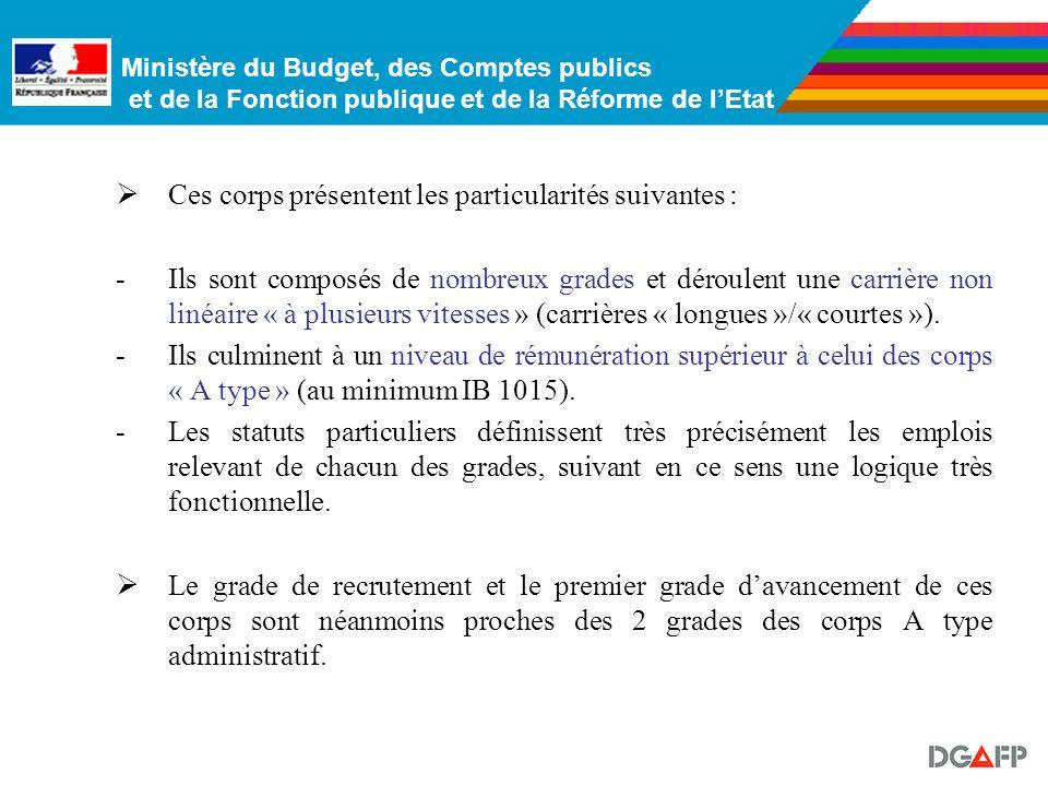 Ministère du Budget, des Comptes publics et de la Fonction publique et de la Réforme de lEtat 3. Les 4 corps des réseaux des finances Ces corps représ