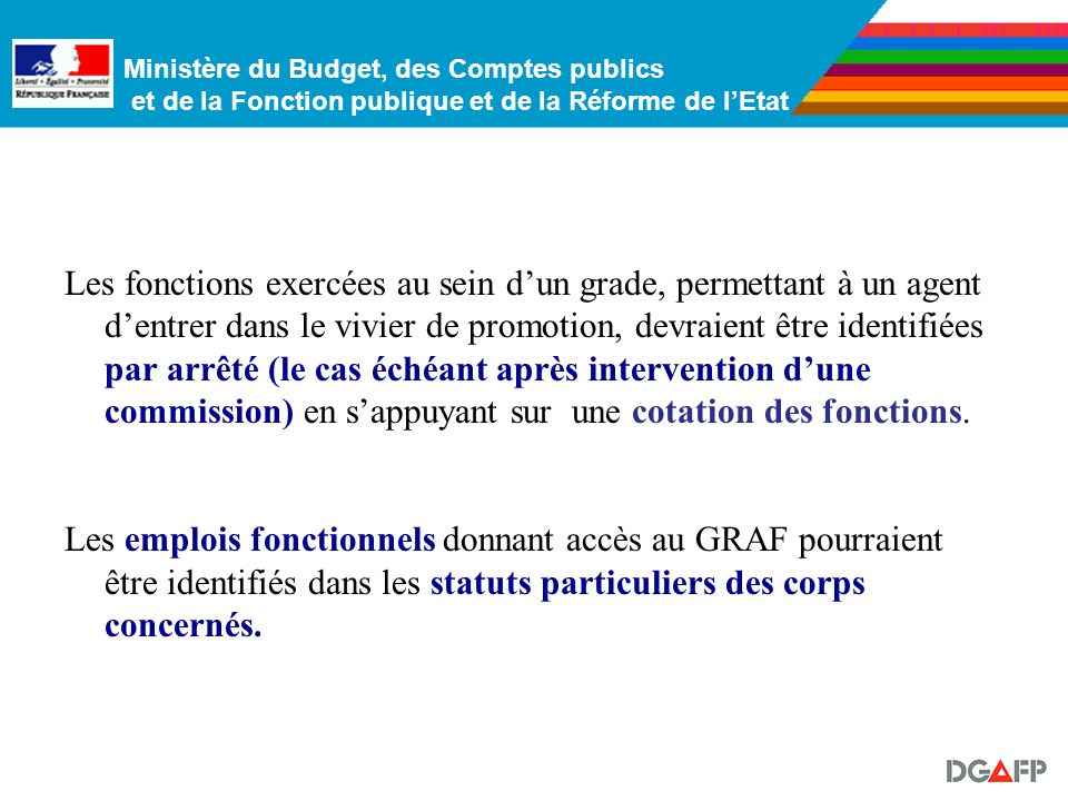 Ministère du Budget, des Comptes publics et de la Fonction publique et de la Réforme de lEtat -…à accès fonctionnel… : la possibilité daccéder au GRAF