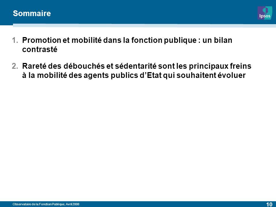 Observatoire de la Fonction Publique, Avril 2008 10 Sommaire 1.Promotion et mobilité dans la fonction publique : un bilan contrasté 2.Rareté des débou