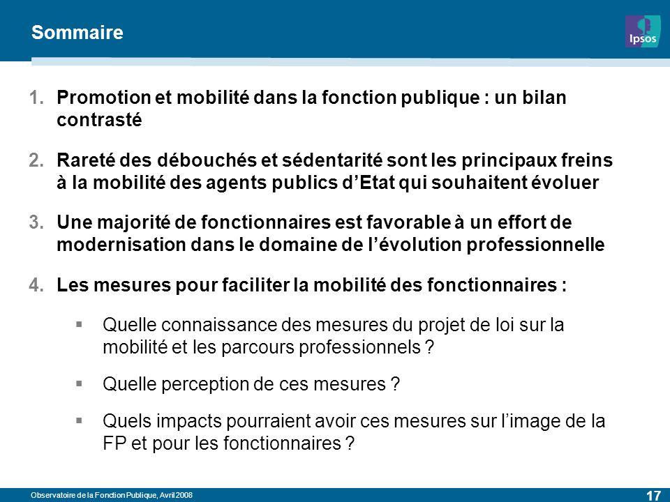 Observatoire de la Fonction Publique, Avril 2008 17 Sommaire 1.Promotion et mobilité dans la fonction publique : un bilan contrasté 2.Rareté des débou