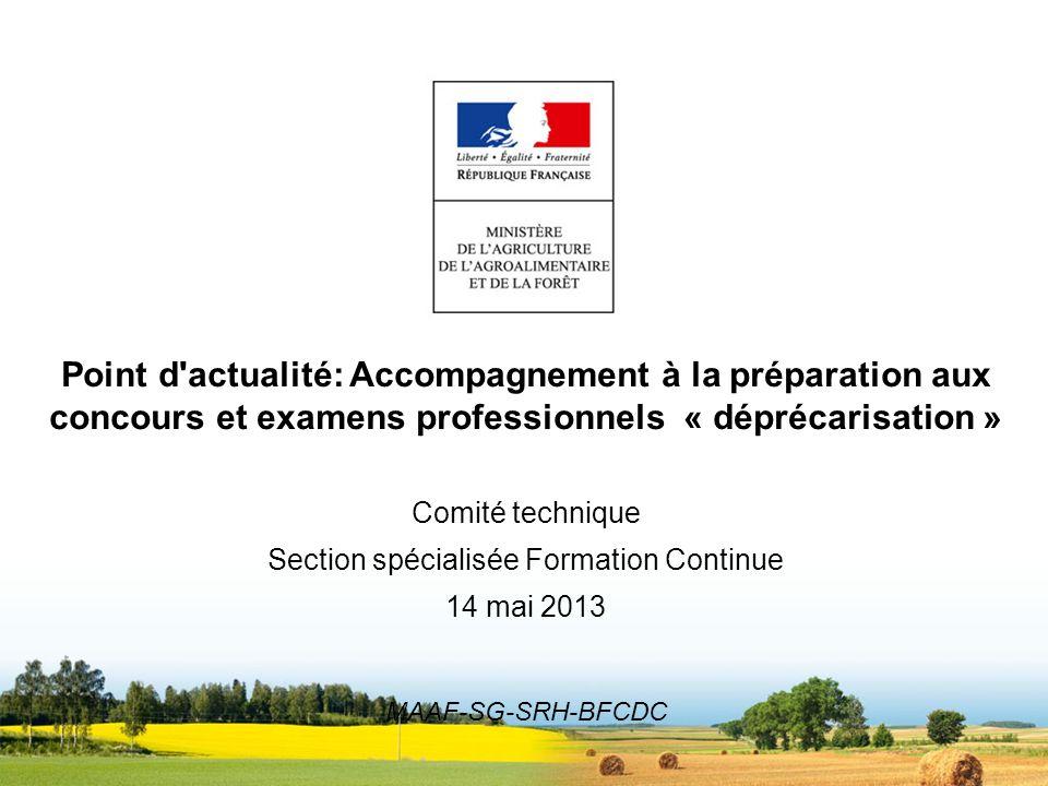 Point d'actualité: Accompagnement à la préparation aux concours et examens professionnels « déprécarisation » Comité technique Section spécialisée For