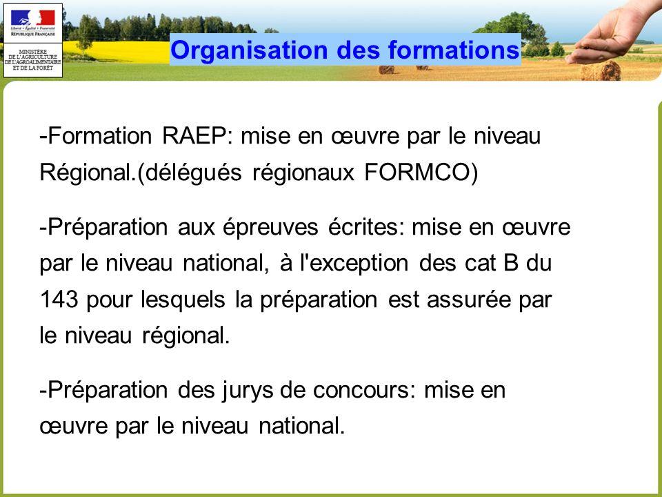 - Formation RAEP: mise en œuvre par le niveau Régional.(délégués régionaux FORMCO) -Préparation aux épreuves écrites: mise en œuvre par le niveau nati