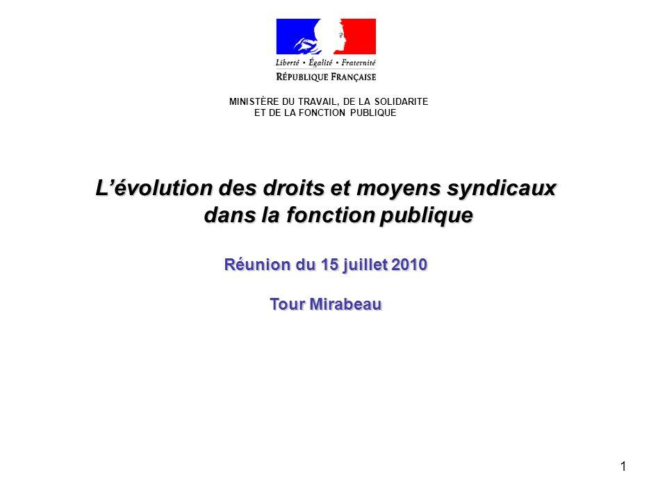 1 MINISTÈRE DU TRAVAIL, DE LA SOLIDARITE ET DE LA FONCTION PUBLIQUE Lévolution des droits et moyens syndicaux dans la fonction publique Réunion du 15