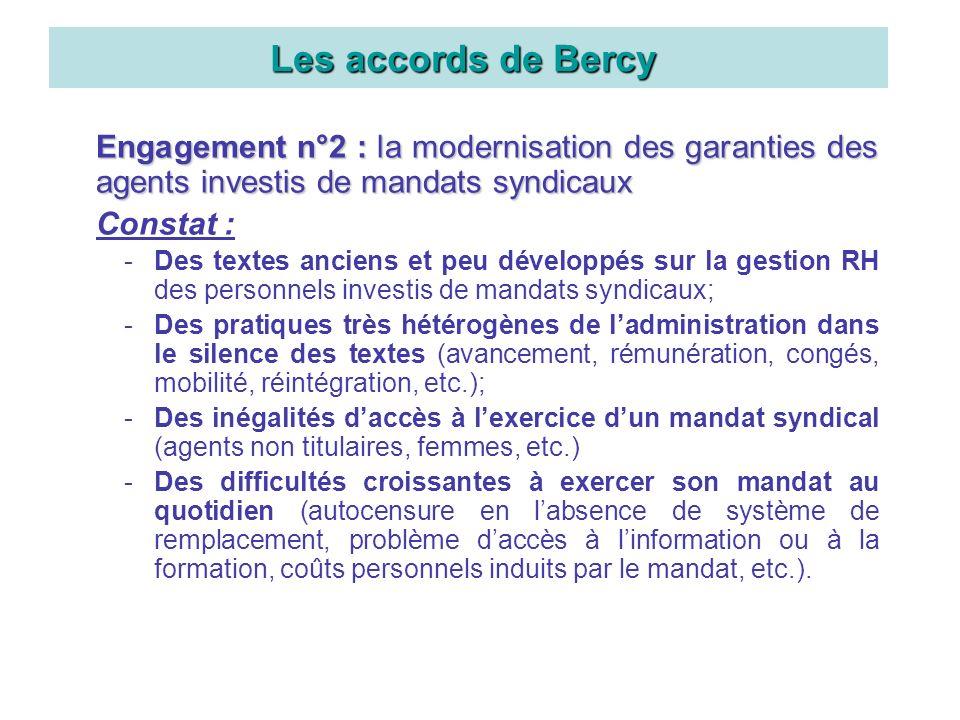 Engagement n°2 : la modernisation des garanties des agents investis de mandats syndicaux Constat : -Des textes anciens et peu développés sur la gestio