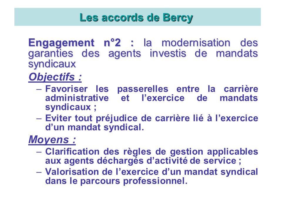 Engagement n°2 : la modernisation des garanties des agents investis de mandats syndicaux Objectifs : –Favoriser les passerelles entre la carrière admi