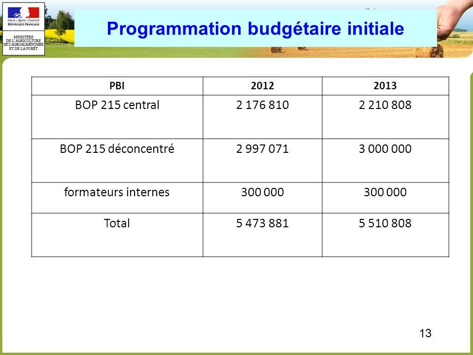 13 Programmation budgétaire initiale PBI20122013 BOP 215 central2 176 8102 210 808 BOP 215 déconcentré2 997 0713 000 000 formateurs internes300 000 To