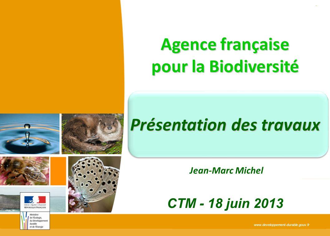 www.developpement-durable.gouv.fr Agence française pour la Biodiversité Présentation des travaux Jean-Marc Michel CTM - 18 juin 2013