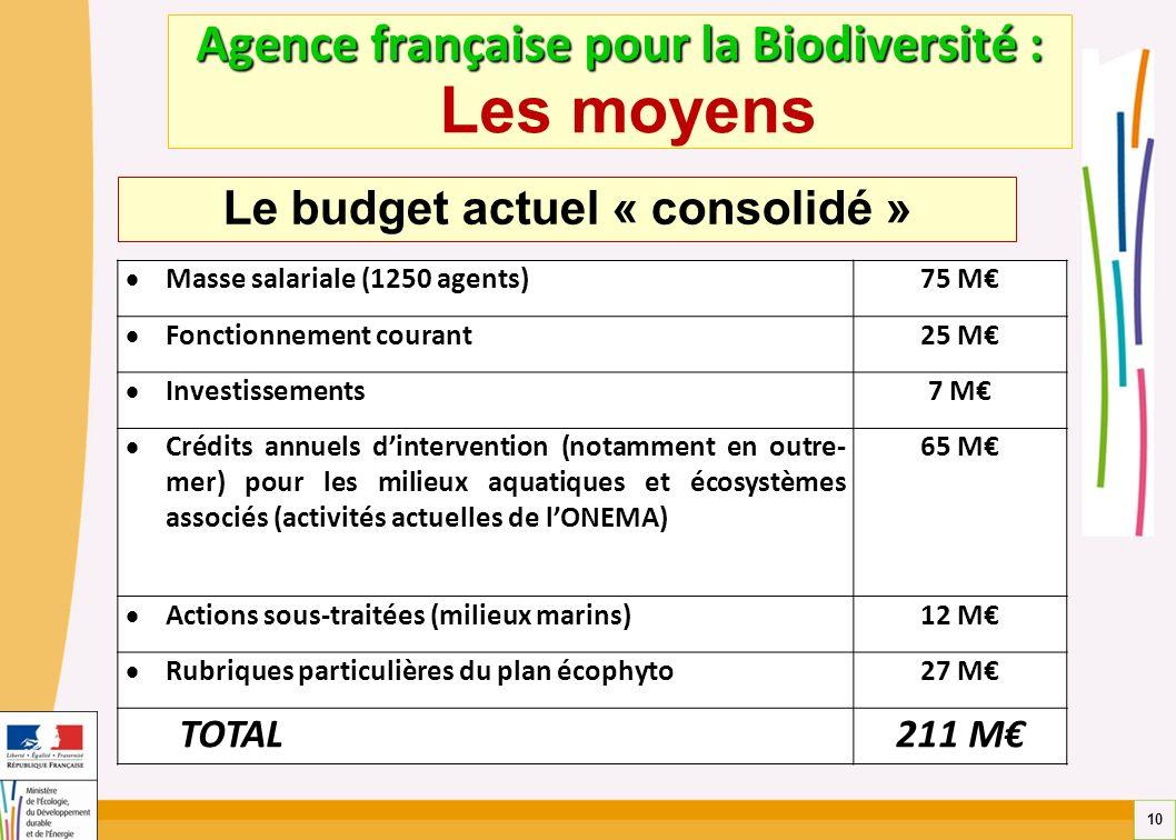 10 Agence française pour la Biodiversité : Agence française pour la Biodiversité : Les moyens Masse salariale (1250 agents) 75 M Fonctionnement couran