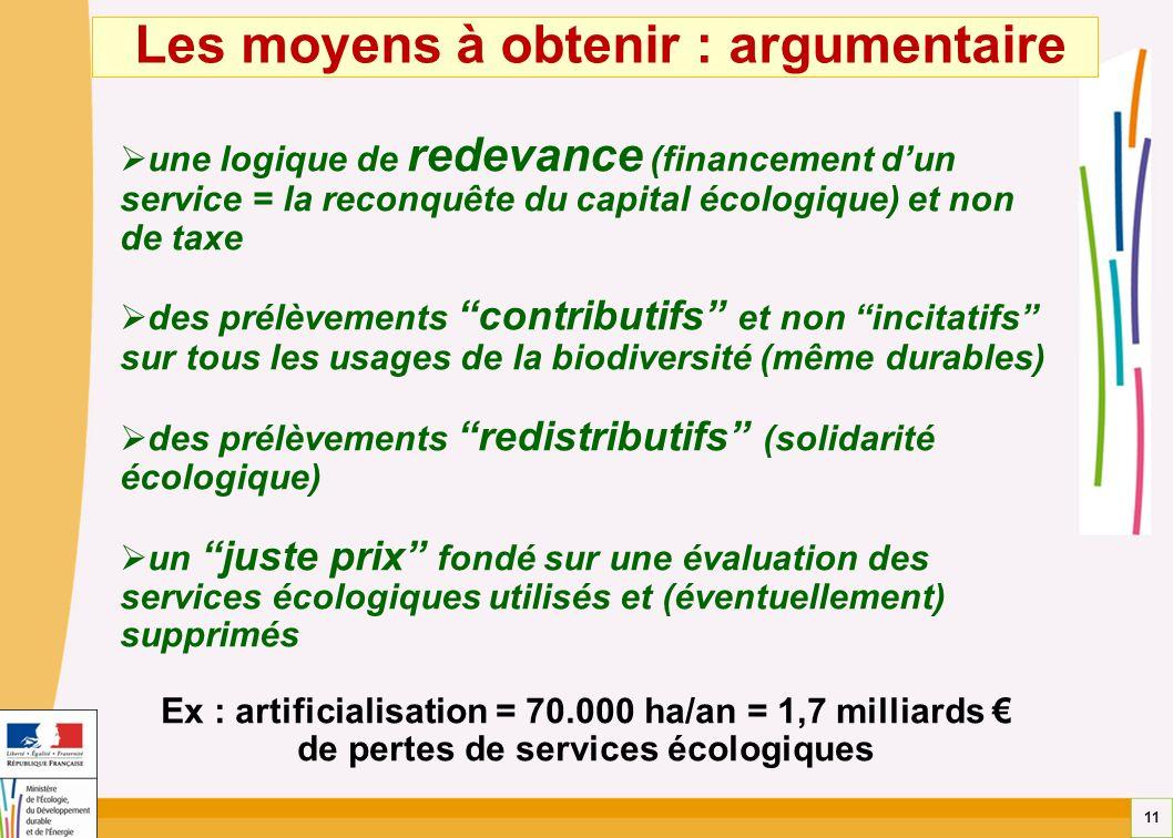 11 Les moyens à obtenir : argumentaire une logique de redevance (financement dun service = la reconquête du capital écologique) et non de taxe des pré