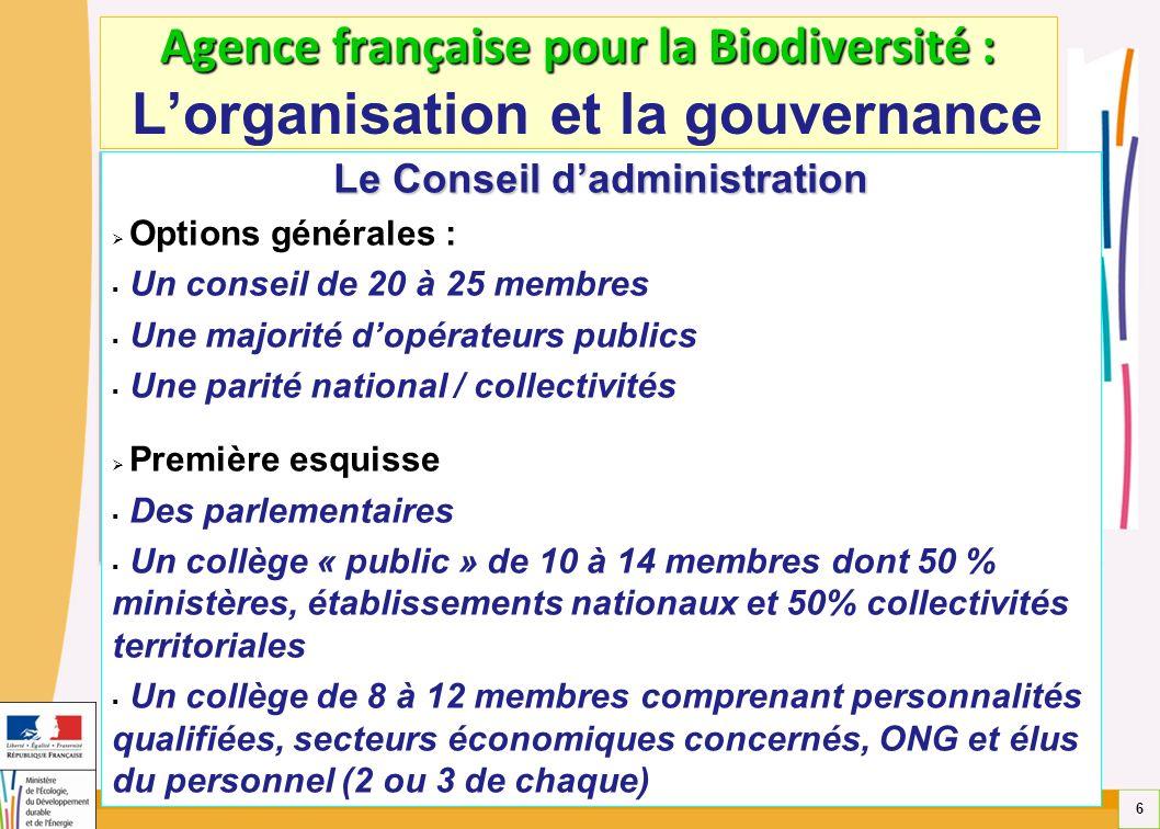 6 Agence française pour la Biodiversité : Agence française pour la Biodiversité : Lorganisation et la gouvernance Le Conseil dadministration Options g