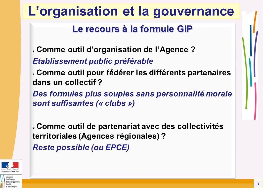 9 Le recours à la formule GIP Comme outil dorganisation de lAgence ? Etablissement public préférable Comme outil pour fédérer les différents partenair