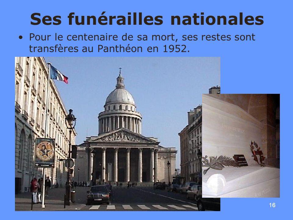 16 Ses funérailles nationales Pour le centenaire de sa mort, ses restes sont transfères au Panthéon en 1952.