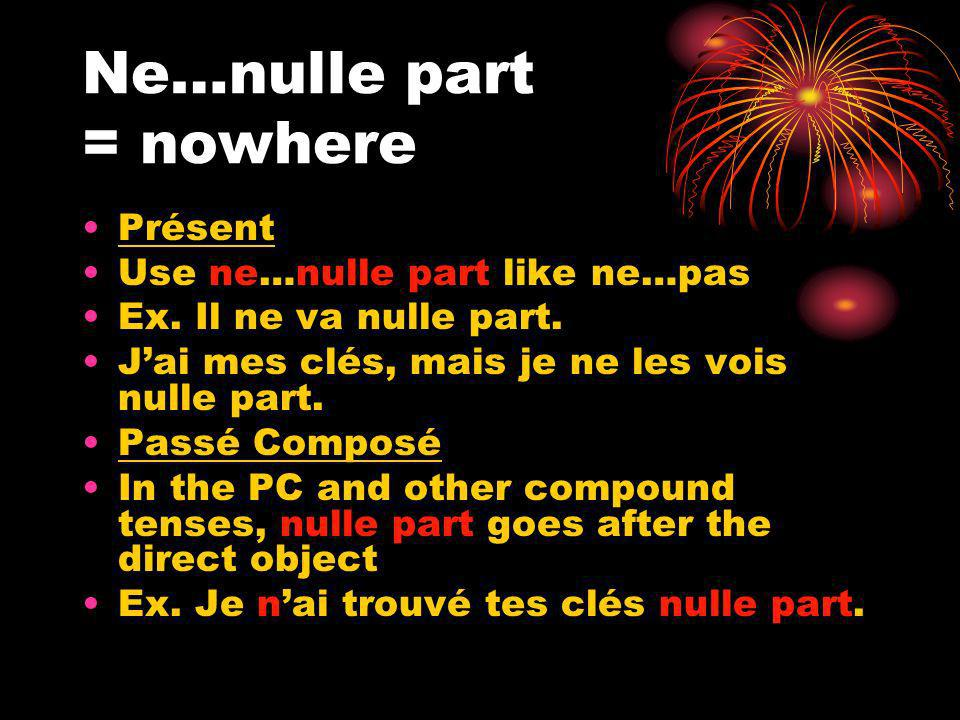 Ne…nulle part = nowhere Présent Use ne…nulle part like ne…pas Ex.