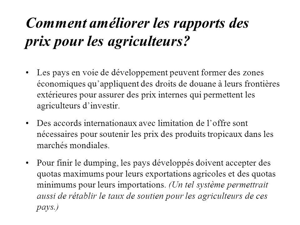 Comment améliorer les rapports des prix pour les agriculteurs.