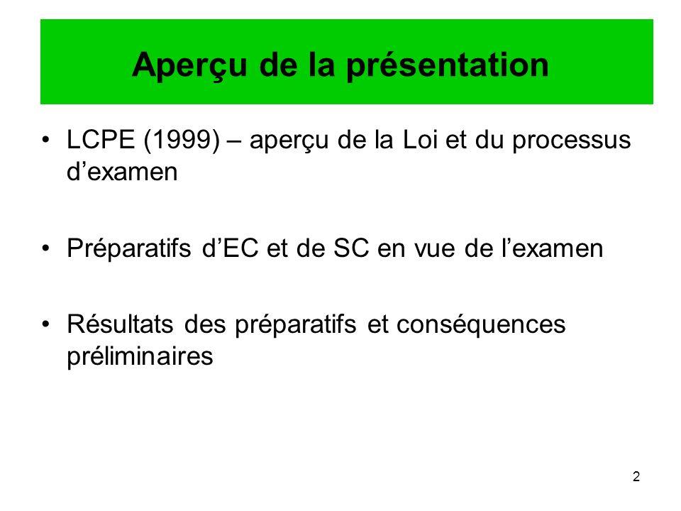 2 Aperçu de la présentation LCPE (1999) – aperçu de la Loi et du processus dexamen Préparatifs dEC et de SC en vue de lexamen Résultats des préparatifs et conséquences préliminaires