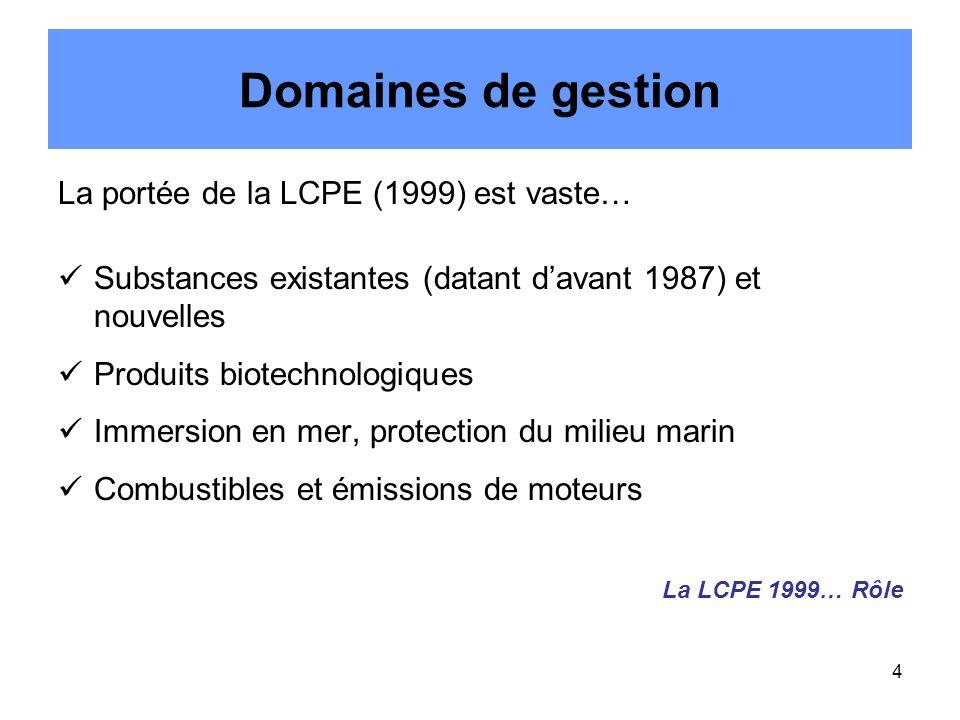 4 Domaines de gestion La portée de la LCPE (1999) est vaste… Substances existantes (datant davant 1987) et nouvelles Produits biotechnologiques Immersion en mer, protection du milieu marin Combustibles et émissions de moteurs La LCPE 1999… Rôle