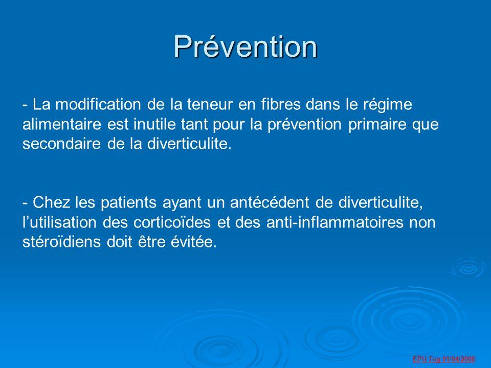 Prévention - La modification de la teneur en fibres dans le régime alimentaire est inutile tant pour la prévention primaire que secondaire de la diverticulite.