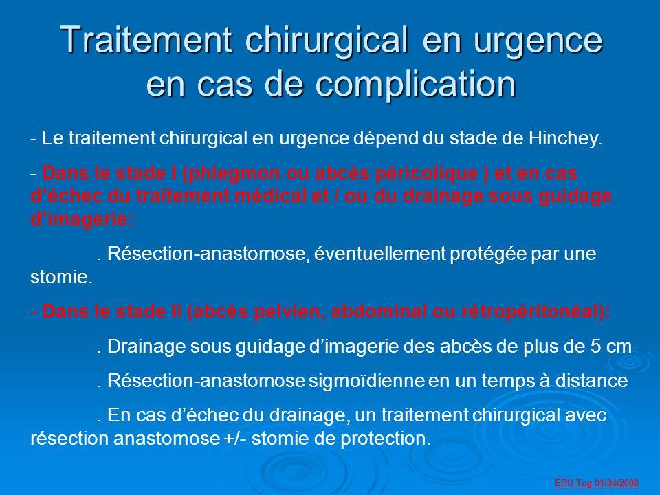 Traitement chirurgical en urgence en cas de complication - Le traitement chirurgical en urgence dépend du stade de Hinchey.
