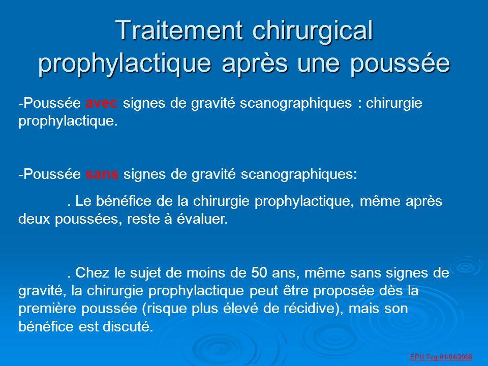 Traitement chirurgical prophylactique après une poussée -Poussée avec signes de gravité scanographiques : chirurgie prophylactique.