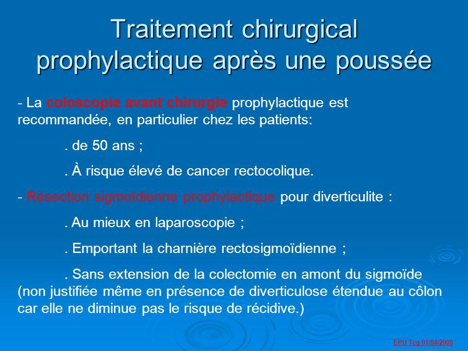 Traitement chirurgical prophylactique après une poussée - La coloscopie avant chirurgie prophylactique est recommandée, en particulier chez les patients:.