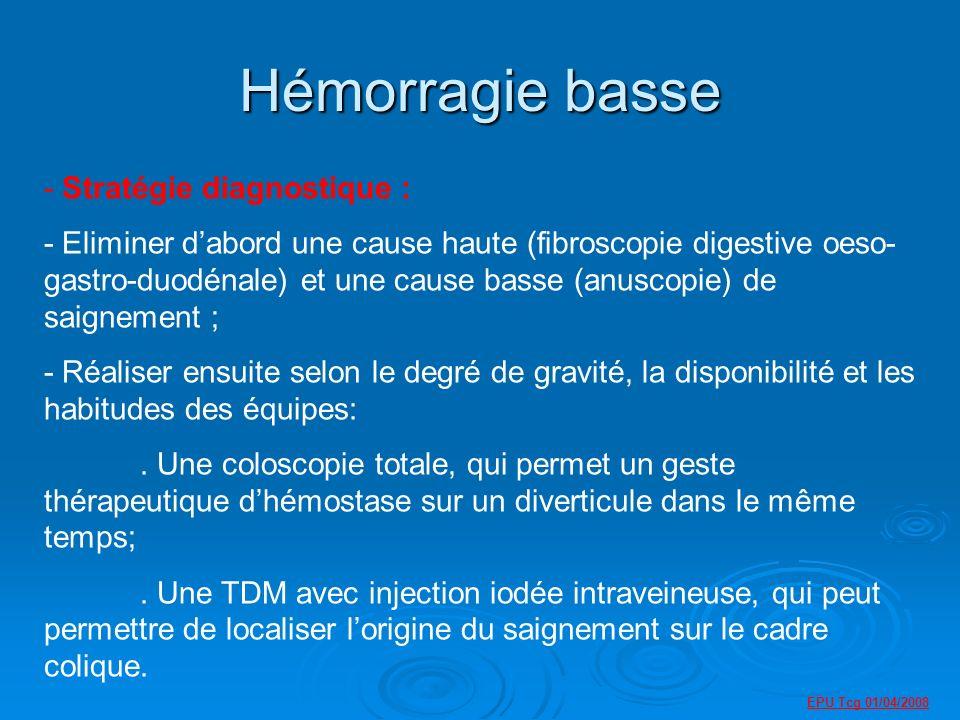 Hémorragie basse - Stratégie diagnostique : - Eliminer dabord une cause haute (fibroscopie digestive oeso- gastro-duodénale) et une cause basse (anuscopie) de saignement ; - Réaliser ensuite selon le degré de gravité, la disponibilité et les habitudes des équipes:.