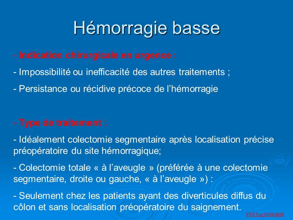 Hémorragie basse - Indication chirurgicale en urgence : - Impossibilité ou inefficacité des autres traitements ; - Persistance ou récidive précoce de lhémorragie - Type de traitement : - Idéalement colectomie segmentaire après localisation précise préopératoire du site hémorragique; - Colectomie totale « à laveugle » (préférée à une colectomie segmentaire, droite ou gauche, « à laveugle ») : - Seulement chez les patients ayant des diverticules diffus du côlon et sans localisation préopératoire du saignement.