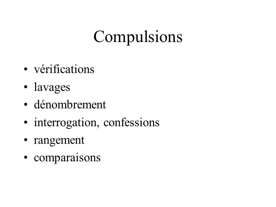 Compulsions vérifications lavages dénombrement interrogation, confessions rangement comparaisons