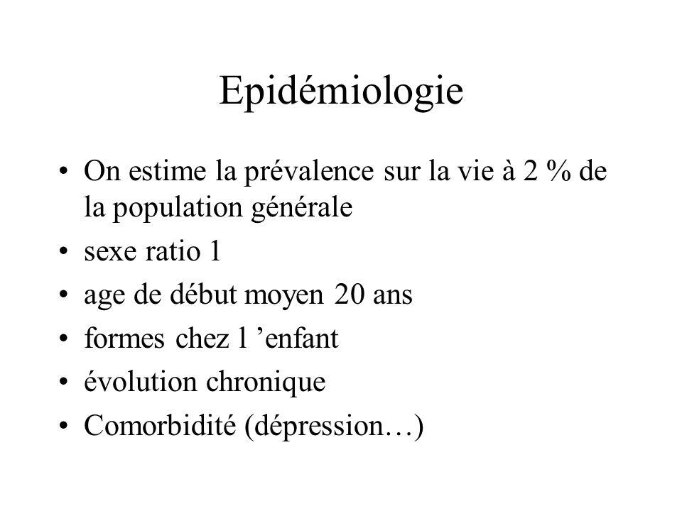 Epidémiologie On estime la prévalence sur la vie à 2 % de la population générale sexe ratio 1 age de début moyen 20 ans formes chez l enfant évolution