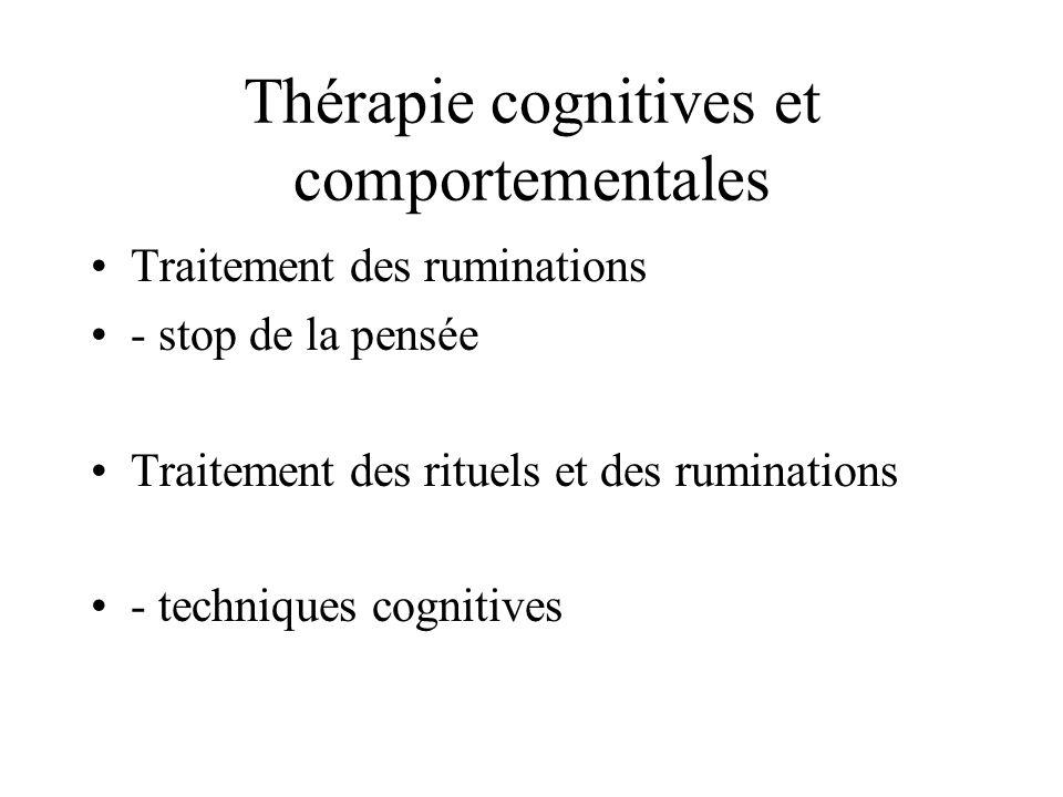 Thérapie cognitives et comportementales Traitement des ruminations - stop de la pensée Traitement des rituels et des ruminations - techniques cognitiv