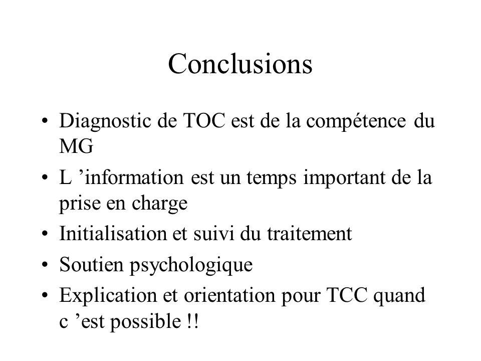 Conclusions Diagnostic de TOC est de la compétence du MG L information est un temps important de la prise en charge Initialisation et suivi du traitem