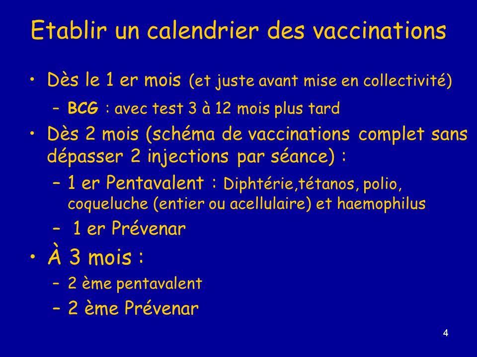 5 Calendrier ( suite) À 4 mois : –3ème pentavalent - 3ème Prévenar (ou 1er hépatite B) À 5 mois : 1er (ou 2ème) hépatite B À 6 mois : 2ème hépatite B (ou 3ème Prévenar ) À 10 mois : 3ème hépatite B À 12 mois : 1er rougeole, oreillons, rubéole –± méningocoque C conjugué 16 /18 mois : 1er rappel pentavalent –+ rappel Prévenar