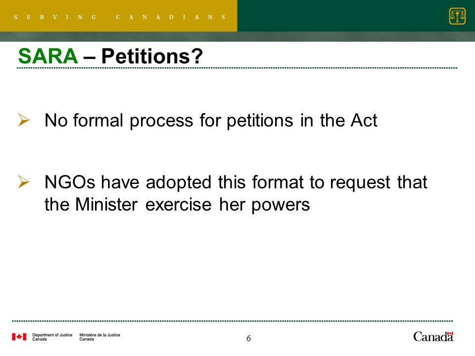 6 SARA – Petitions.