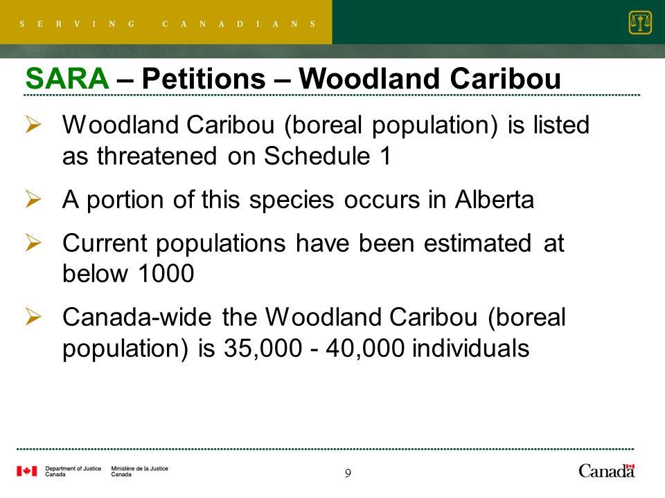 10 SARA – Petitions – Woodland Caribou 80.