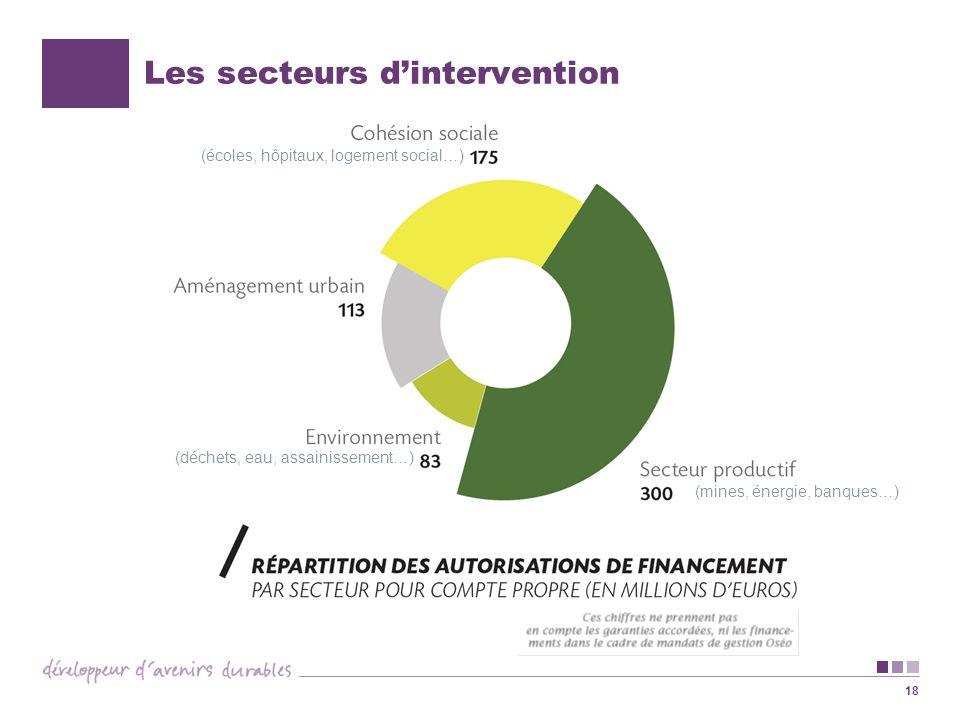 18 Les secteurs dintervention (mines, énergie, banques…) (déchets, eau, assainissement…) (écoles, hôpitaux, logement social…)