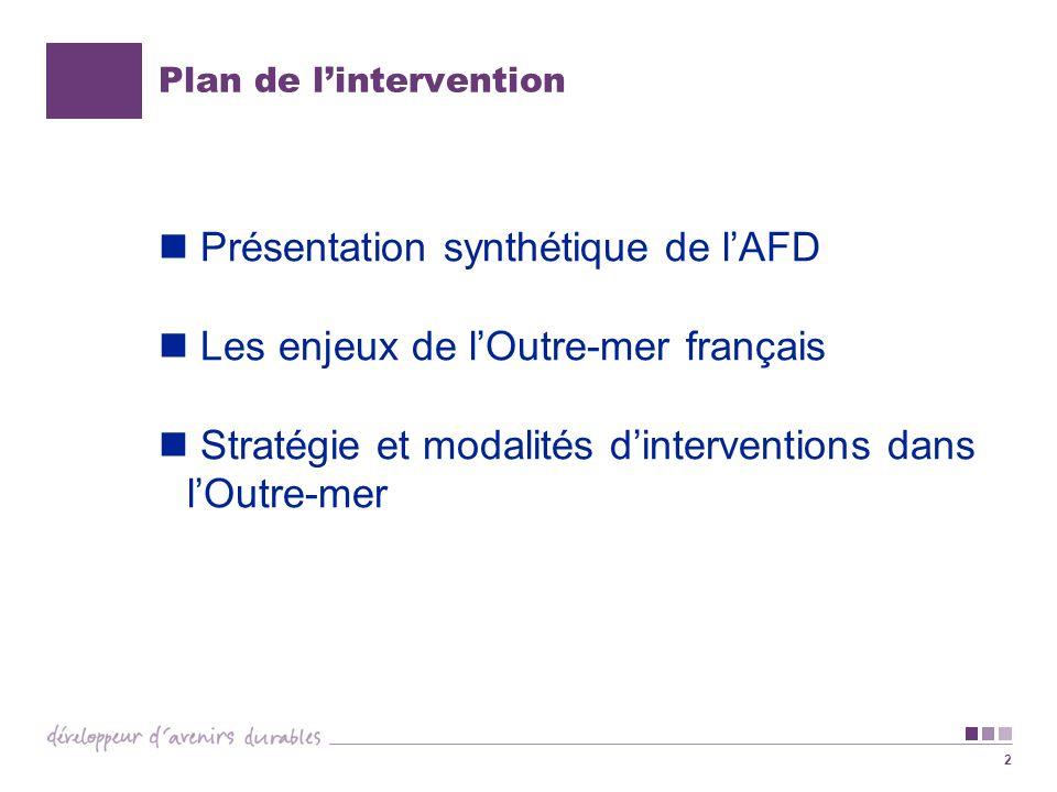 2 Plan de lintervention Présentation synthétique de lAFD Les enjeux de lOutre-mer français Stratégie et modalités dinterventions dans lOutre-mer