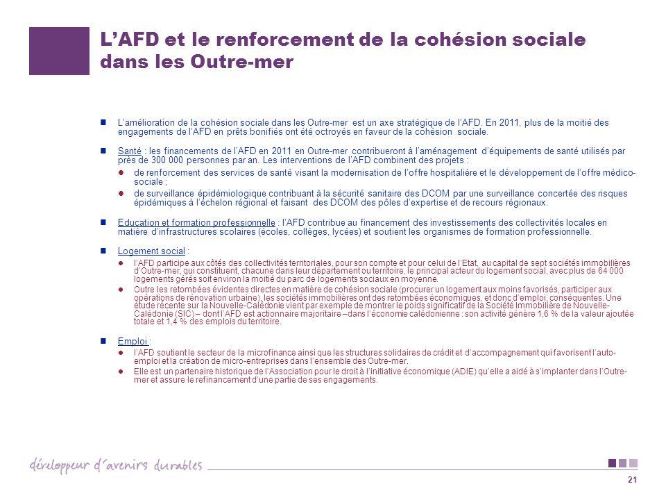 21 LAFD et le renforcement de la cohésion sociale dans les Outre-mer Lamélioration de la cohésion sociale dans les Outre-mer est un axe stratégique de lAFD.