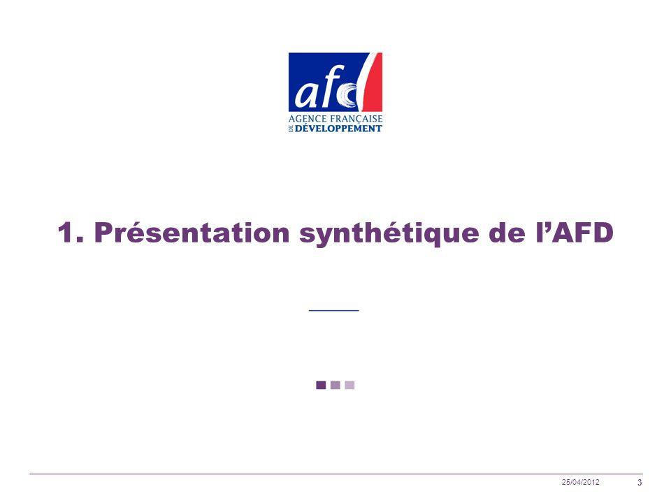 25/04/2012 3 1. Présentation synthétique de lAFD