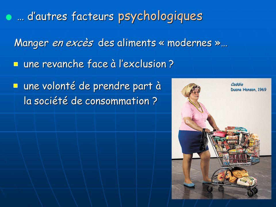 … dautres facteurs psychologiques Manger en excès des aliments « modernes »… une revanche face à lexclusion .