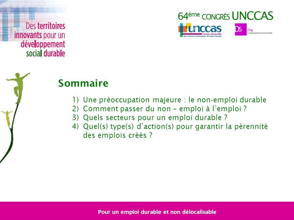 64 ème CONGRÈS UNCCAS Sommaire 1)Une préoccupation majeure : le non-emploi durable 2)Comment passer du non – emploi à lemploi .