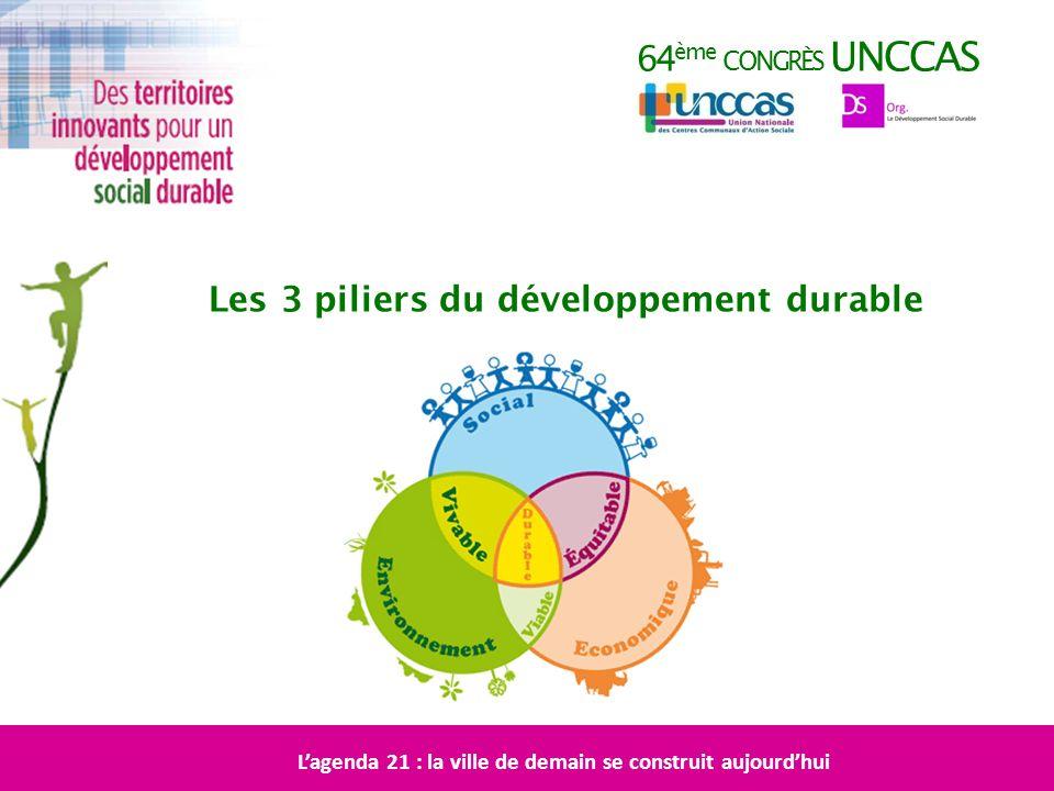 64 ème CONGRÈS UNCCAS Les 3 piliers du développement durable Lagenda 21 : la ville de demain se construit aujourdhui