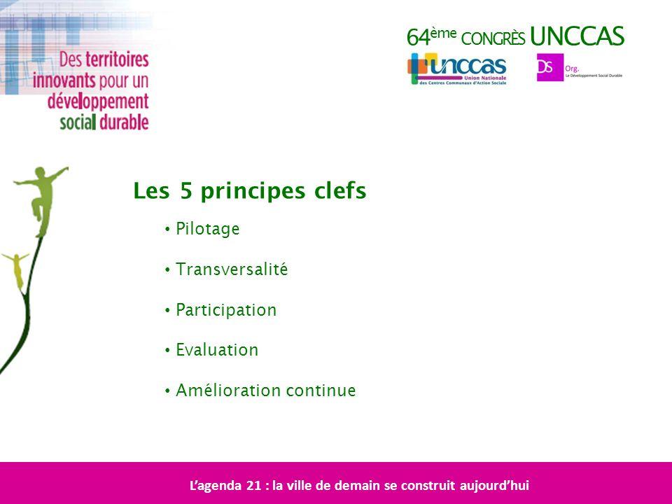 64 ème CONGRÈS UNCCAS Les 5 principes clefs Lagenda 21 : la ville de demain se construit aujourdhui Pilotage Transversalité Participation Evaluation A