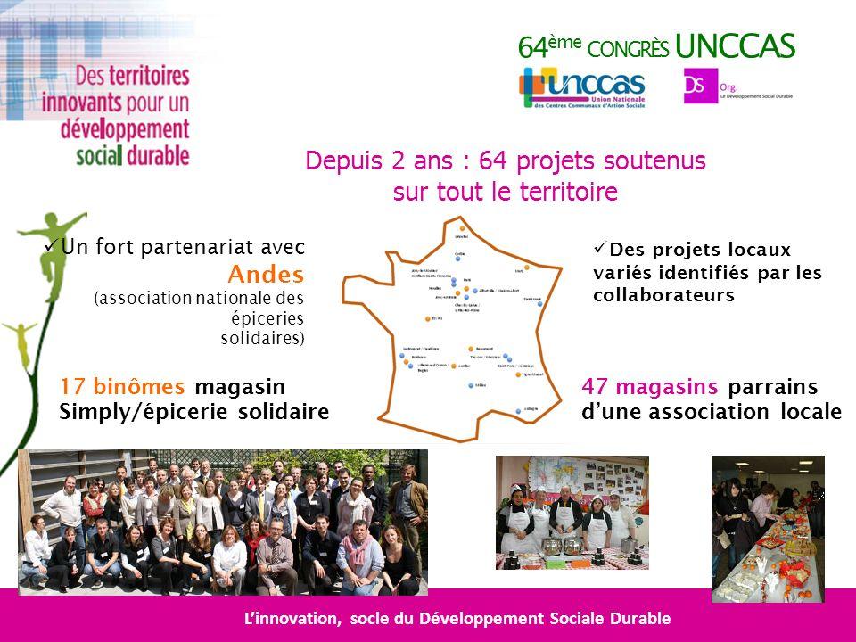 64 ème CONGRÈS UNCCAS Linnovation, socle du Développement Sociale Durable Depuis 2 ans : 64 projets soutenus sur tout le territoire Un fort partenaria