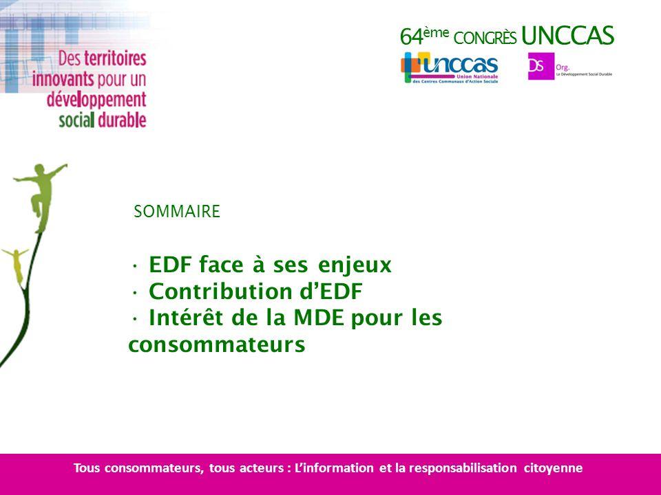 64 ème CONGRÈS UNCCAS EDF face à ses enjeux Contribution dEDF Intérêt de la MDE pour les consommateurs SOMMAIRE Tous consommateurs, tous acteurs : Lin