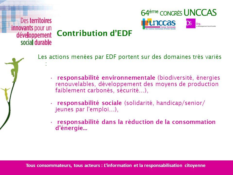 64 ème CONGRÈS UNCCAS Les actions menées par EDF portent sur des domaines très variés : responsabilité environnementale (biodiversité, énergies renouv