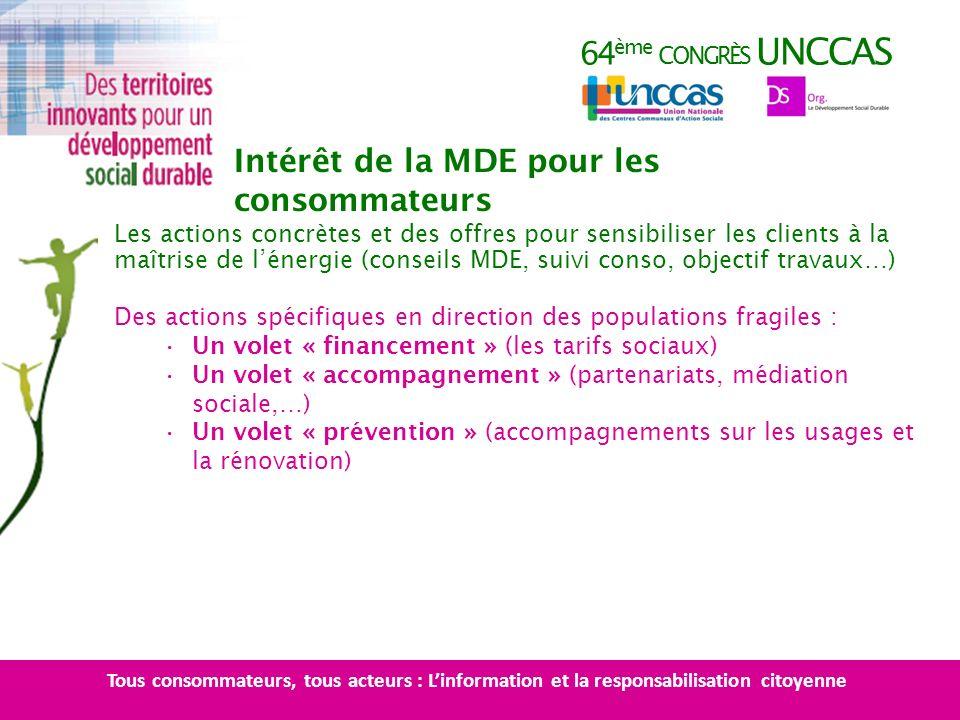 64 ème CONGRÈS UNCCAS Les actions concrètes et des offres pour sensibiliser les clients à la maîtrise de lénergie (conseils MDE, suivi conso, objectif