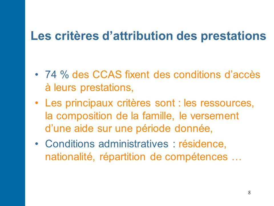 8 Les critères dattribution des prestations 74 % des CCAS fixent des conditions daccès à leurs prestations, Les principaux critères sont : les ressour